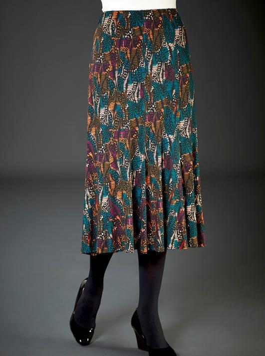 Swishy Pull-on Printed Skirt