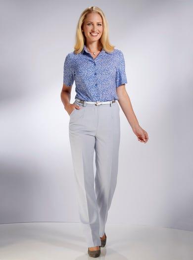 5049 - Gris argent - Pantalon classique riche en laine