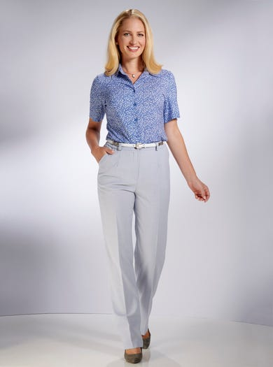 5049 - Silver - Tailored Classic Wool Blend Trousers
