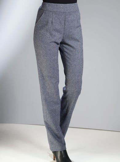 5219 - Navy - Crease-free Wool-blend Trousers