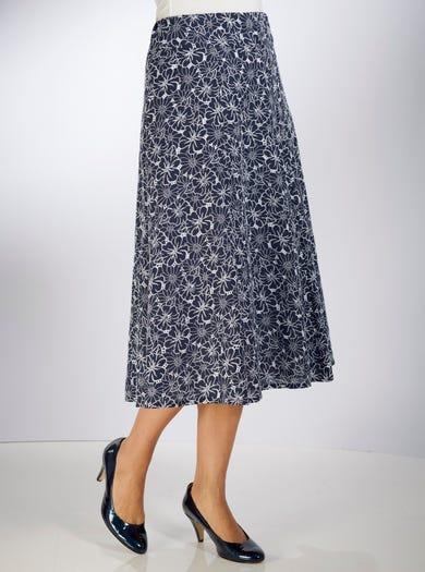 5326 - Bleu marine - Jupe en toile pur coton brodée