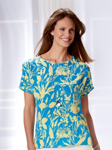 5340 - Champ de blé - T-shirt raffiné en pure soie imprimée