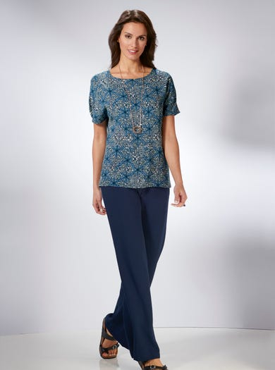 5360 - Motif médina bleu - T-shirt imprimé fluide