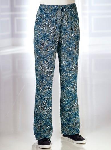 5369 - Motif médina bleu - Pantalon léger facile à vivre