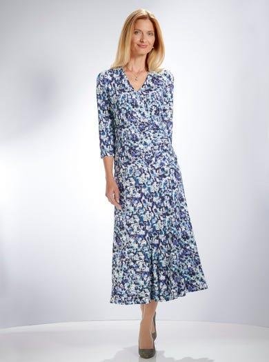 5370 - Bleu Dundee - Haut raffiné en jersey stretch imprimé