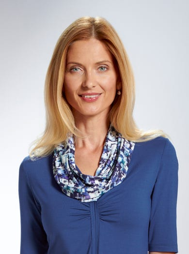 5378 - Bleu Dundee - Belle écharpe-collier en jersey imprimé