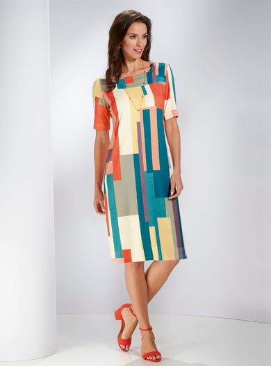 5393 - Colour Block - Statement Jersey Dress