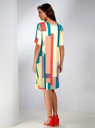 5393 - Blocs de couleur - Robe droite en jersey imprimé