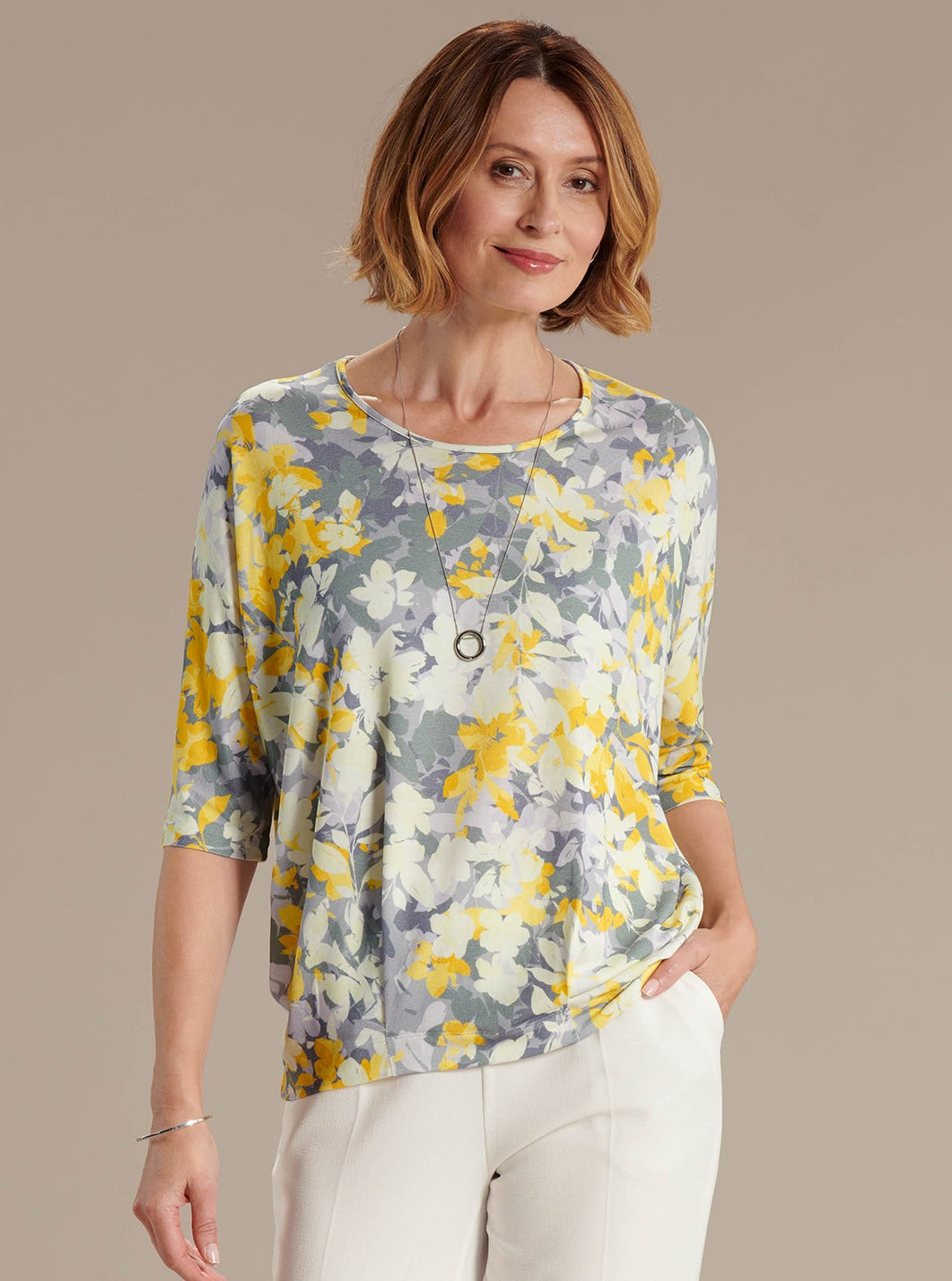 Relaxed Floral Jersey Top