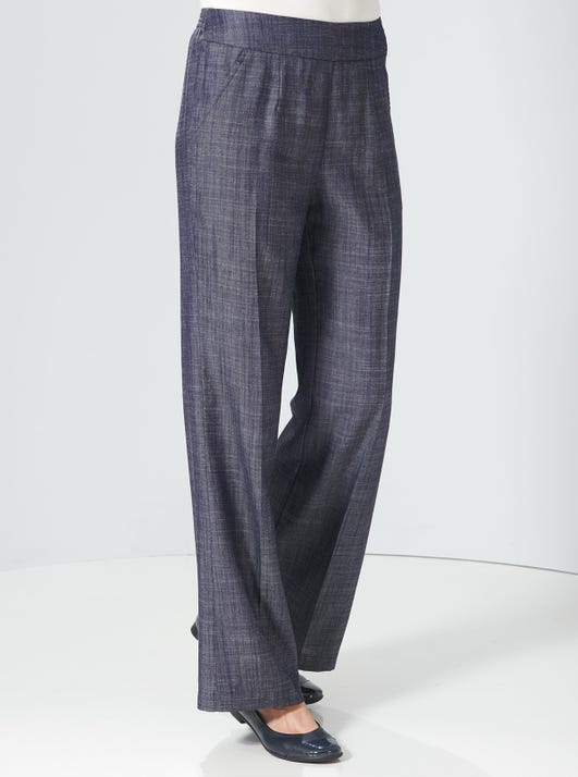Wide-leg Soft Linen-look Trousers