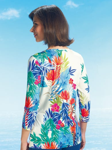 6140 - Paradijsvogelbloem - Jersey top in originele print