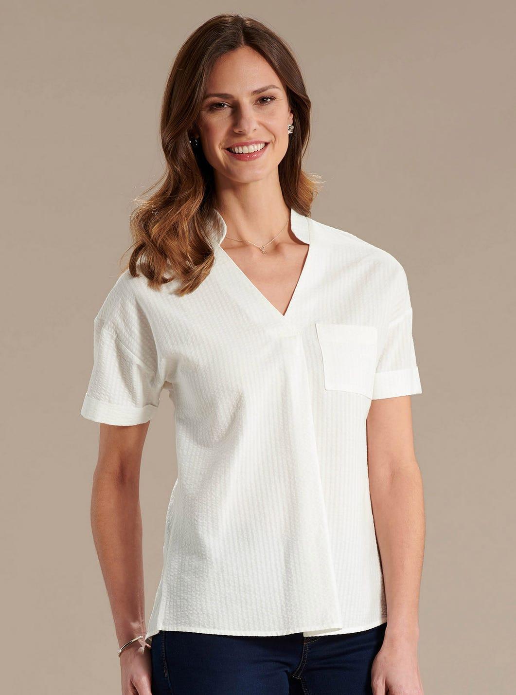 Cotton-Rich Seersucker Top