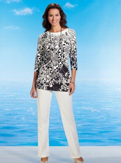 6404 - Récif corail - Tunique raffinée en jersey satiné