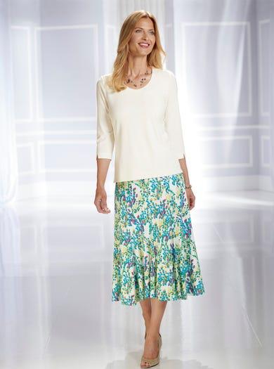 6416 - Mimosa - Élégante jupe en jersey imprimé