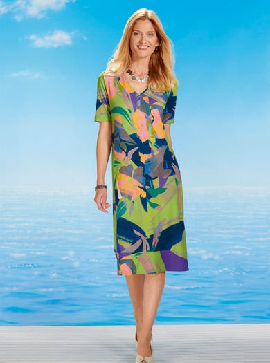 6443 - Hot House Flowers - Relaxed Easy Jersey Dress