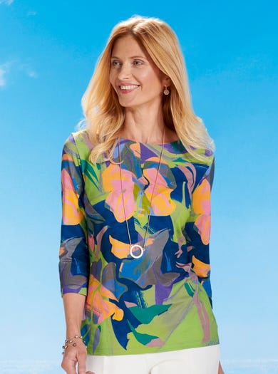 6444 - Hot House Flowers - Standout Jersey Tunic