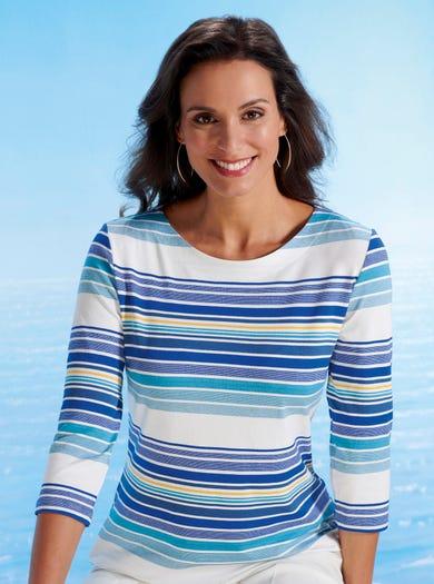 6450 - Blauw gestreept - Zachte stretch jersey top