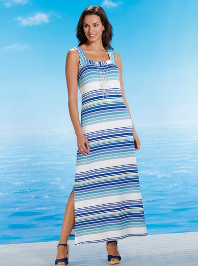 6453 - Padstow Stripe - Easy Jersey Maxi Dress