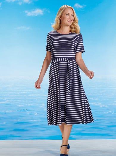 6463 - Navy/Ivory - Stretch Jersey Dress