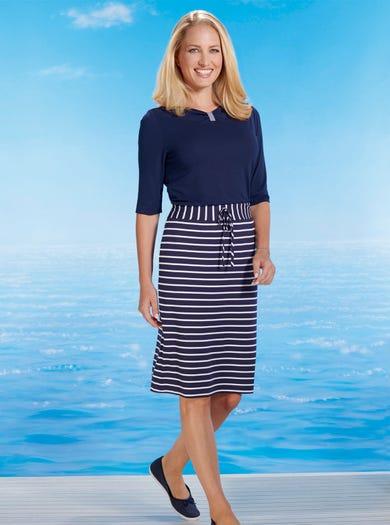 6466 - Navy/Ivory - Comfy Jersey Skirt