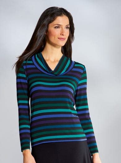 Striped Jersey Cowl Neck