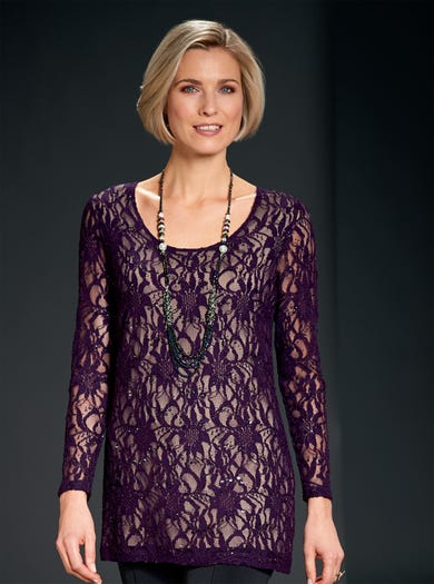 6800 - Amethyst - Sequinned Stretch Lace Tunic