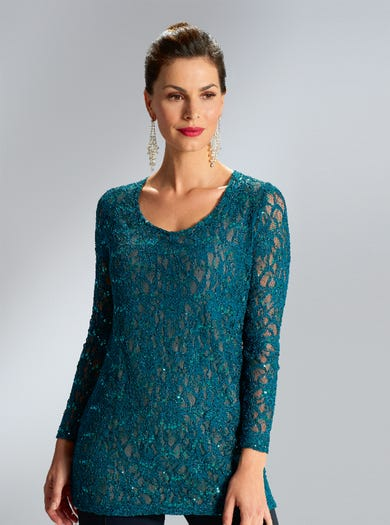 6800 - Teal/Black - Sequinned Stretch Lace Tunic