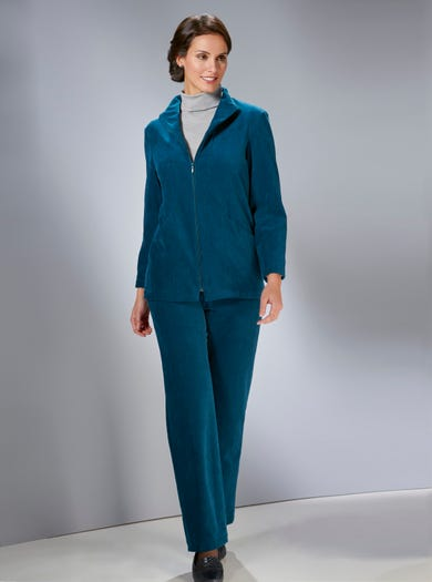 6854 - Teal - Warm Stretch Cord Velour Jacket