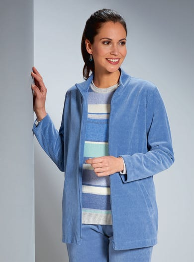 6855 - Bluebell - Warm Stretch Cord  Velour Jacket
