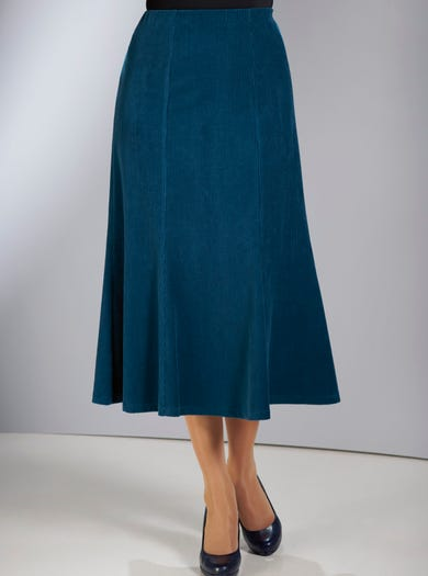 6856 - Teal - Soft Cord Velour Skirt