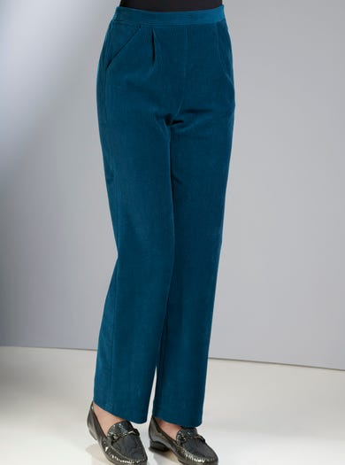 6859 - Teal - Easy-fit Stretch Cord Velour Trousers