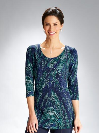 6882 - Blue/Emerald - Stretch Jersey Tunic