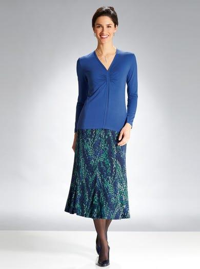 6886 - Blue/Emerald - Stretch Jersey Skirt