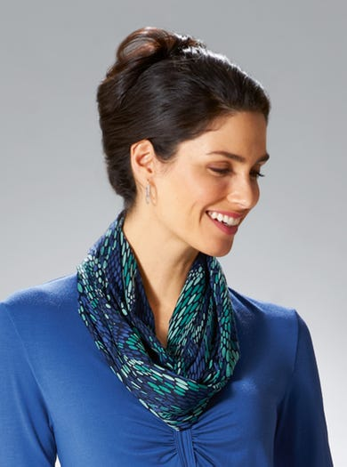 6888 - Blue/Emerald - Soft Jersey Infinity Scarf