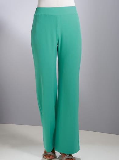 7039 - Green - Uncrushable Crepe Palazzo Trousers