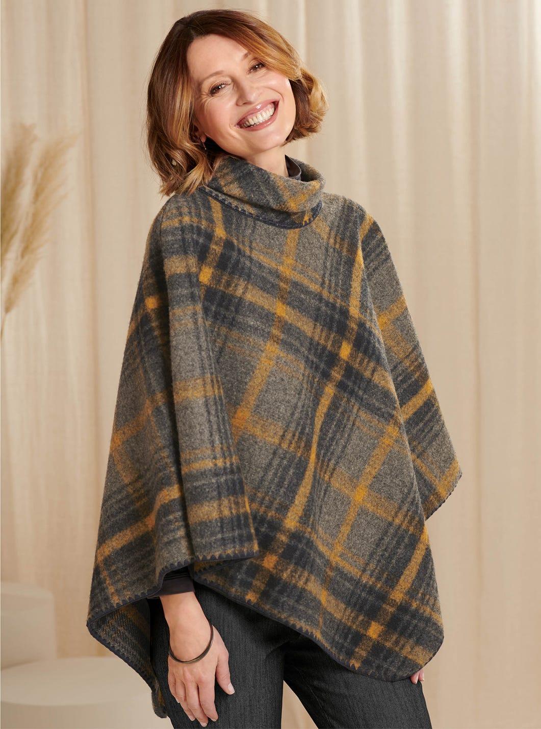 Wool Check Poncho