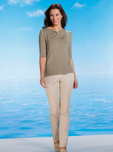 7208 - Sand - Cotton Sateen Trousers