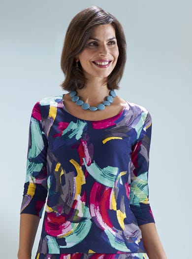 7230 - Brushstrokes - Soft Jersey Top