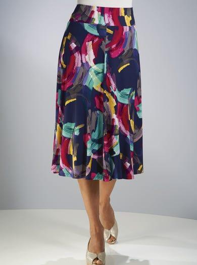 7236 - Coups de pinceau - Élégante jupe en jersey imprimé