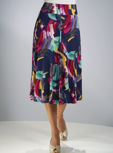 7236 - Brushstrokes - Super Stylish Jersey Skirt