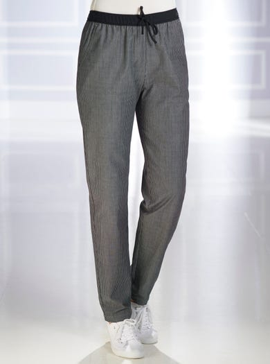 7529 - Black - Pure Cotton Weekend Trousers