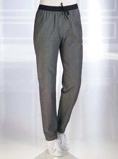 7529 - Noir - Pantalon de style décontracté en pur coton