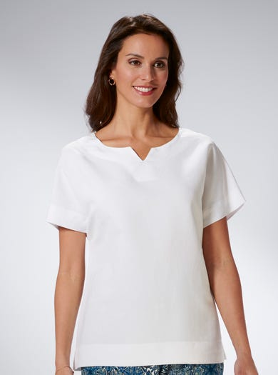 7531 - Soft White - Contemporary Linen-blend Top