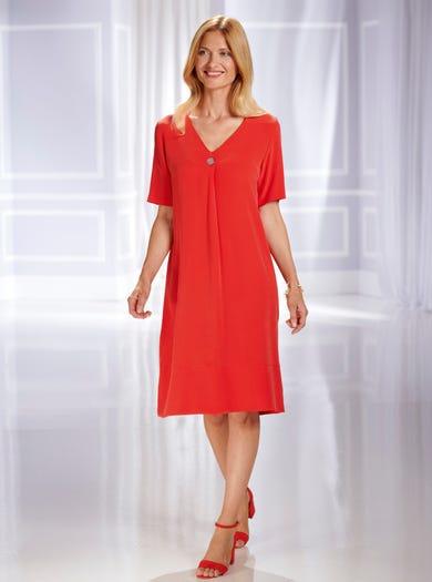 7543 - Pastèque - Magnifique robe unie en pure soie lavée