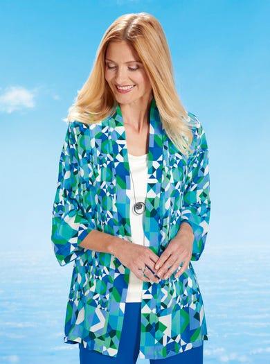 7553 - Imprimé Bleu Mykonos - Kimono en pure soie respirante