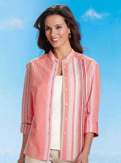 7582 - Coral - Relaxed Woven Cotton Shirt