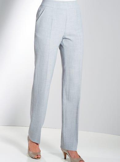 7829 - Gris argent - Pantalon en toile infroissable aspect lin