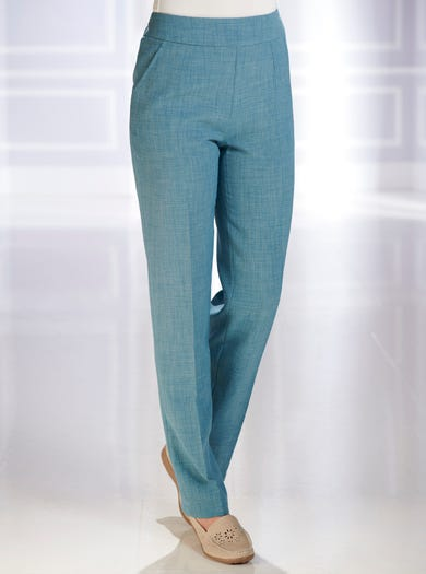 7829 - Vert de gris - Pantalon en toile infroissable aspect lin