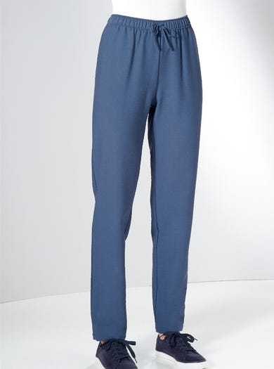 7839 - Blue - Relaxed Linen-Look Trousers