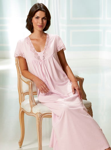 8292 - Pink - Soft Short Sleeve Lace Nightdress
